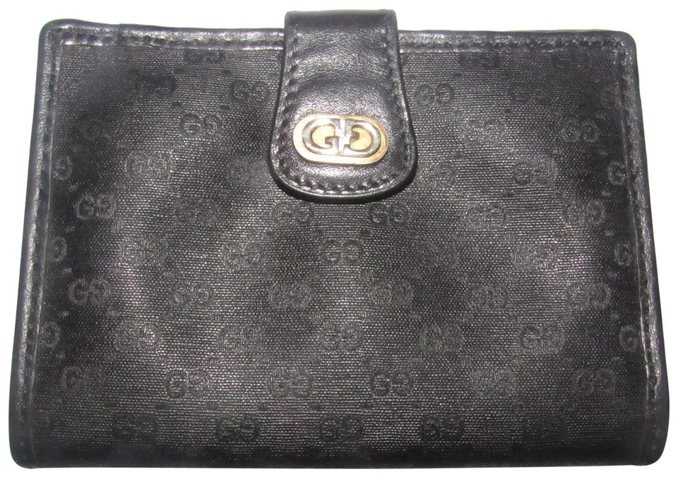 a571c7d495d0 Gucci Black Small G Logo Print On Coated Canvas/Black Leather ...
