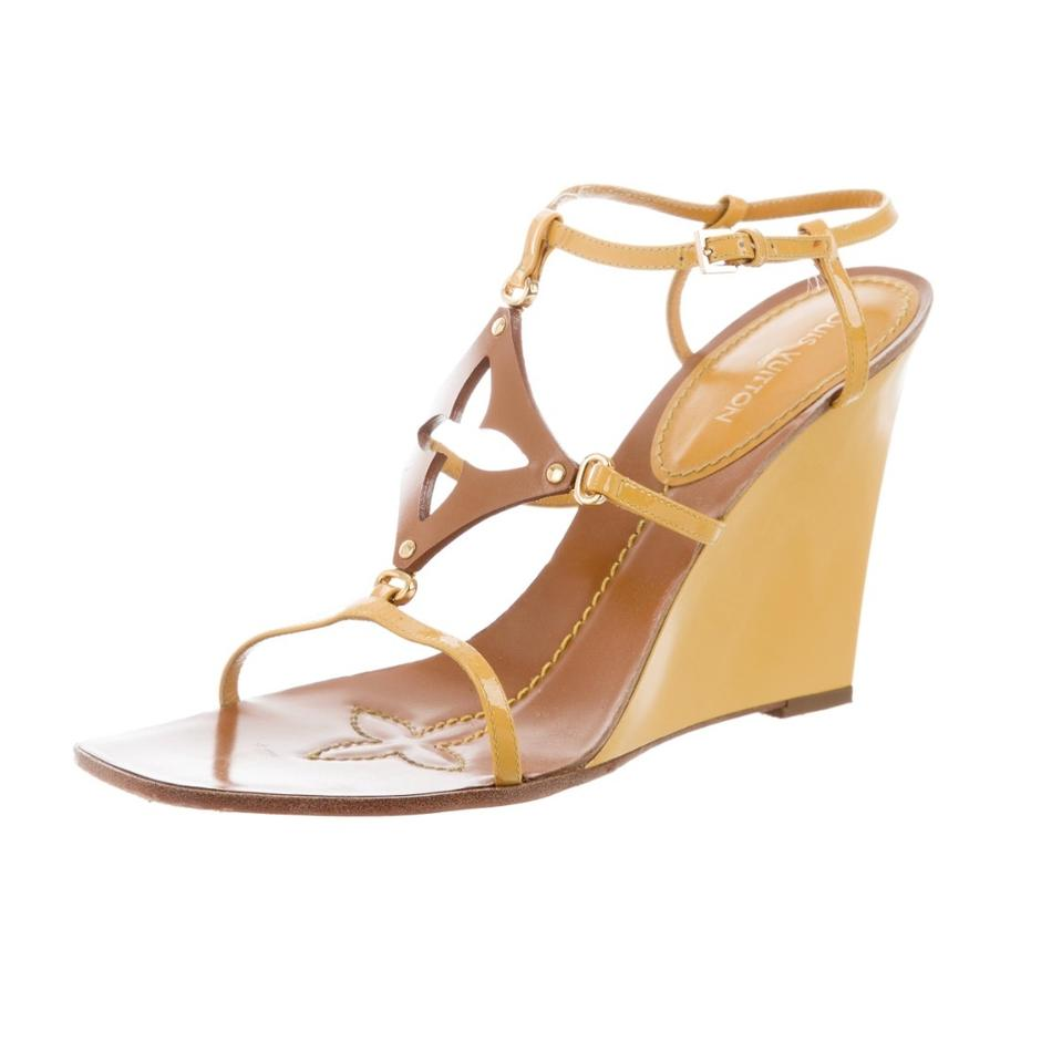 c88c305df162 Louis Vuitton Yellow and Tan Capricieuse Sandals 40 Patent Wedges ...