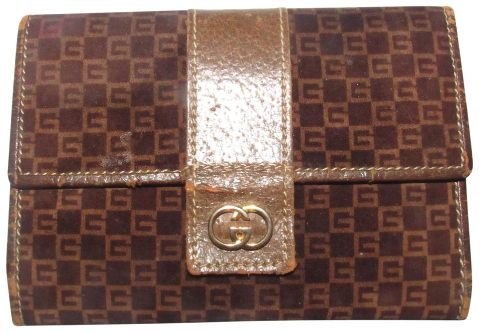 6c58d2bdf144 Gucci Brown Square G Logo Print Suede and Brown Leather Vintage ...