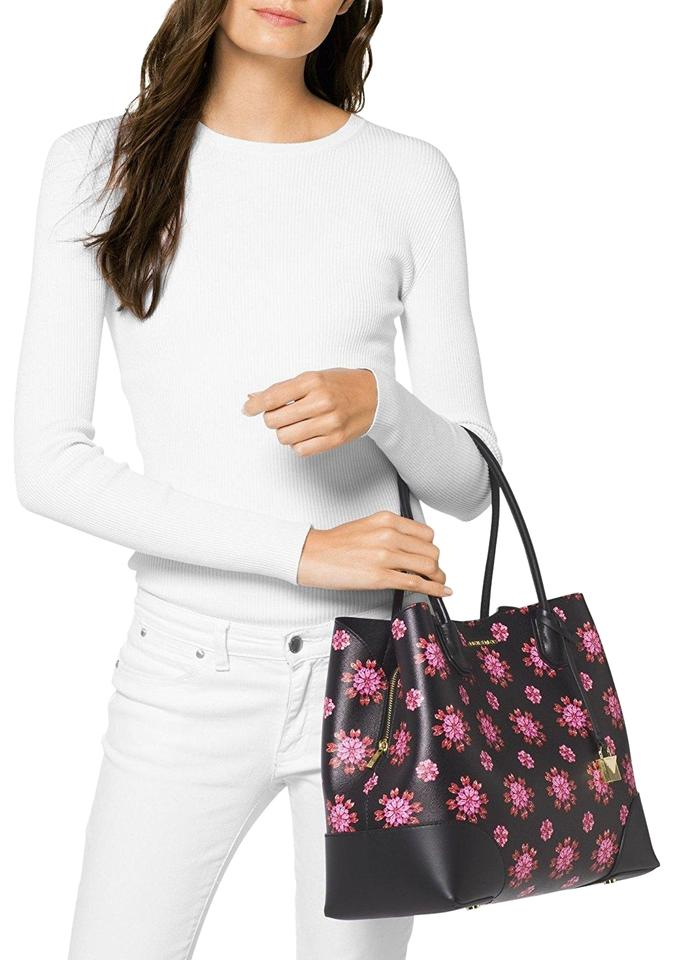6826b8993bb5 MICHAEL Michael Kors Large Studio Mercer Corner Snap Floral Tote Black/Ultra  Pink Textured Leather/Leather Satchel