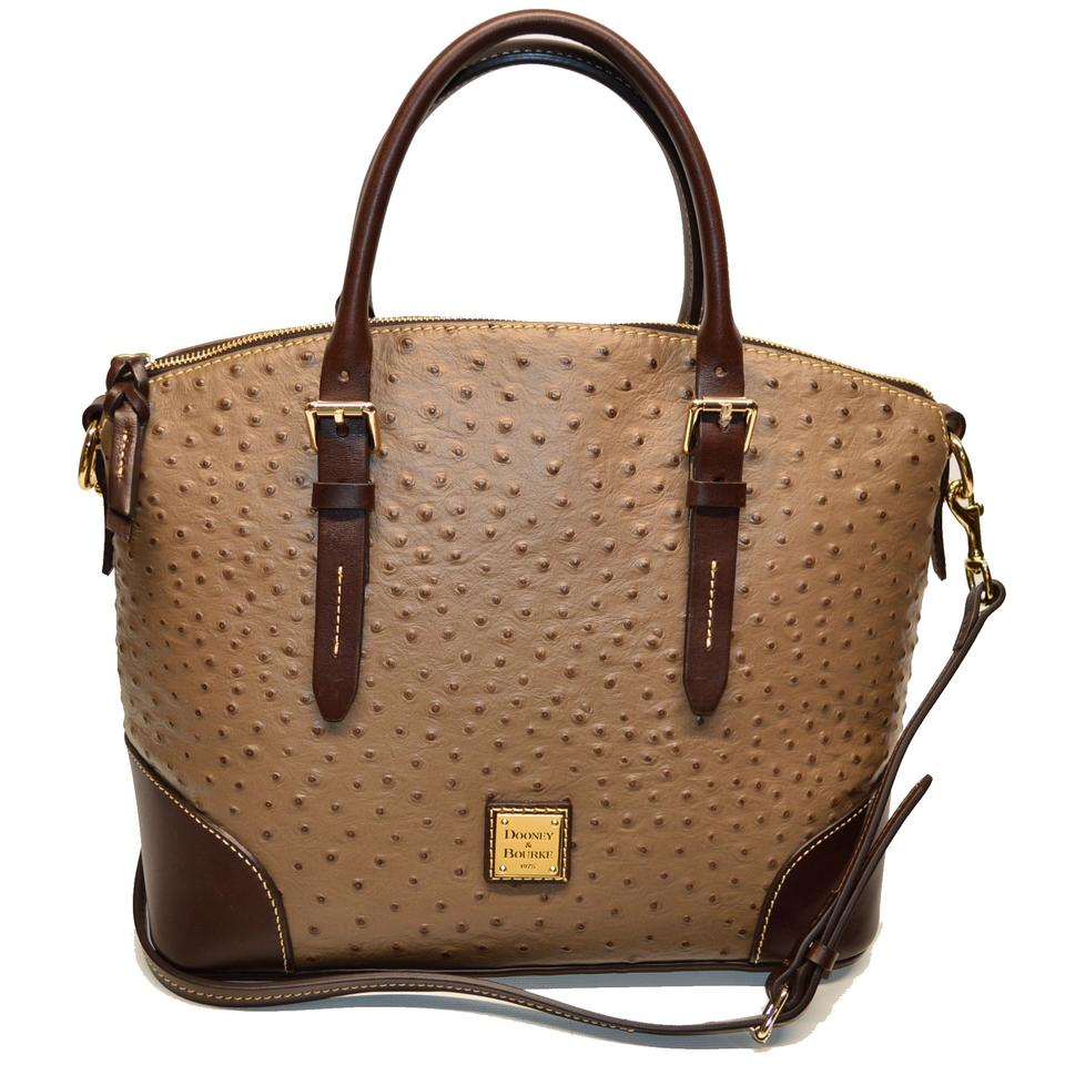 33e718abb61 Dooney   Bourke Domed Satchel Ostrich Emb Mushroom Leather Shoulder ...