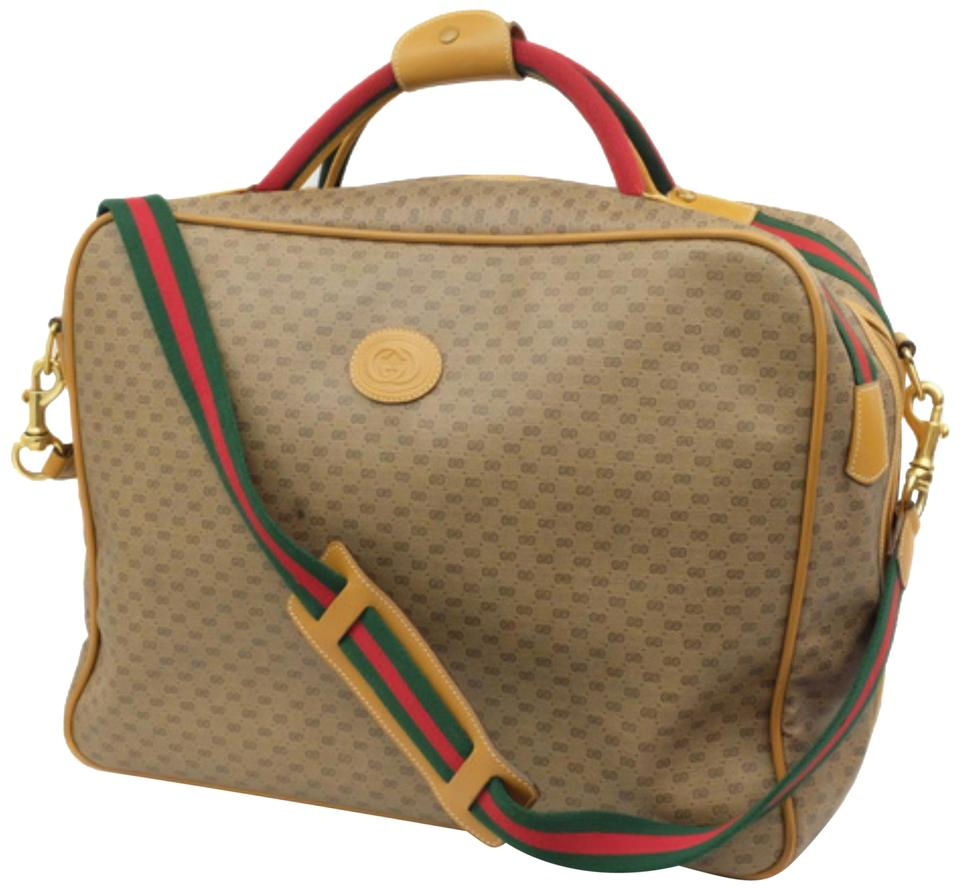 5ba5146d5 Gucci Suitcase Monogram Stripe Luggage Duffle Beige Travel Bag Image 0 ...