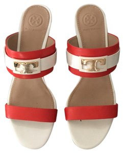 Tory Burch Orange and White Sandals