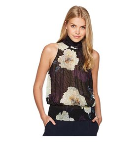 Tracy Reese Halter Smocked Floral Top black