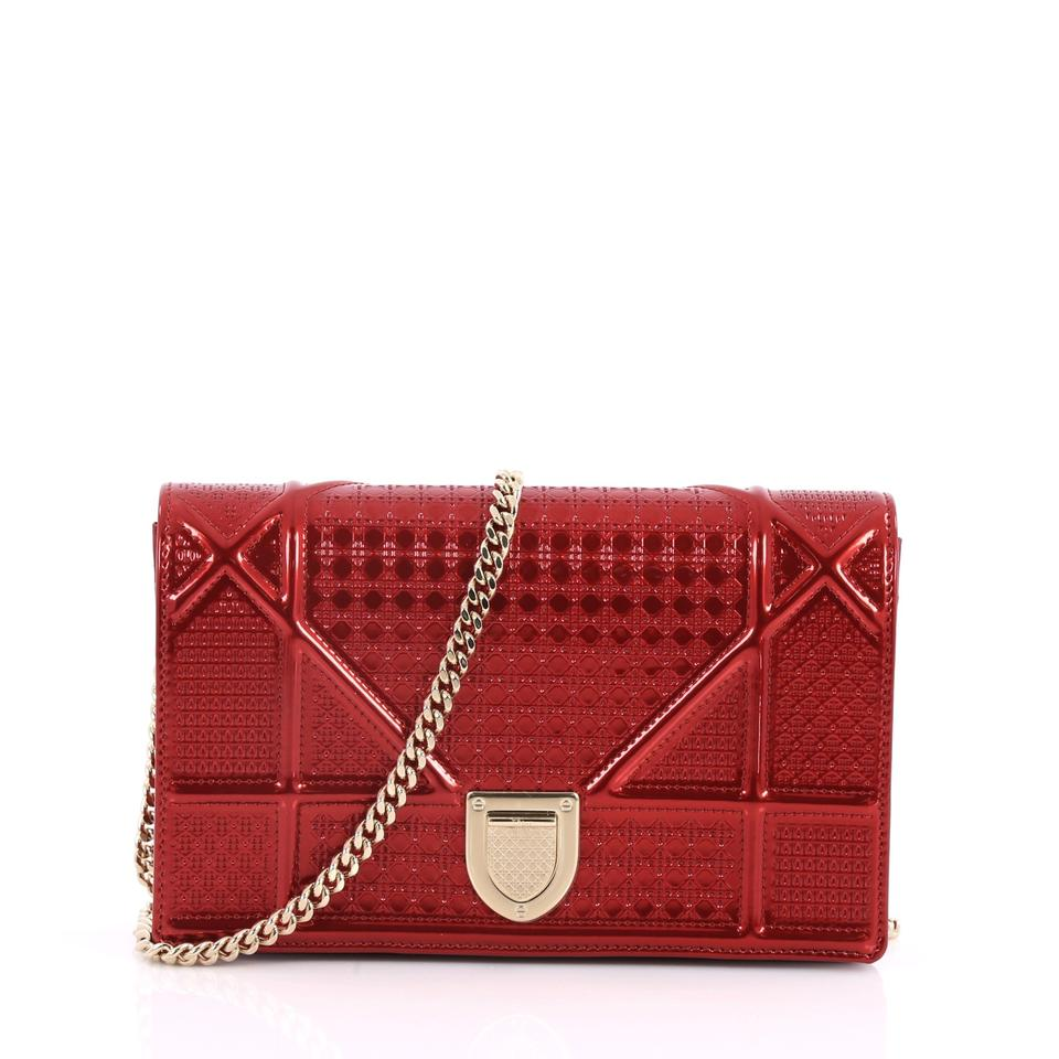 3e8d007aa821 Dior Christian Diorama Wallet On Chain Cannage Embossed Red Calfskin ...