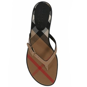 Burberry House Check Leather Flip Flops Honey Sandals