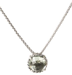 David Yurman Chatelaine Pendant Necklace with Prasiolite 8mm $350 NWOT