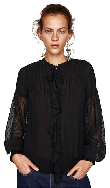 Preload https://img-static.tradesy.com/item/23354182/zara-black-full-sleeves-ruffle-bow-trim-contrasting-fabric-new-blouse-size-2-xs-0-1-650-650.jpg
