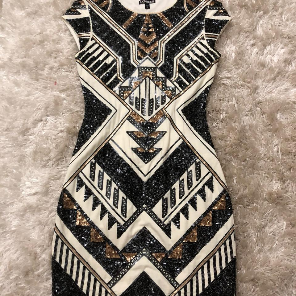 a77913f9 Express Black White Gold Aztec Design Sequin Short Night Out Dress Size 2  (XS) - Tradesy