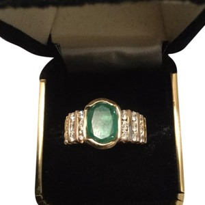 Emerald And Diamond Ring Set In 14K emerald and diamond ring