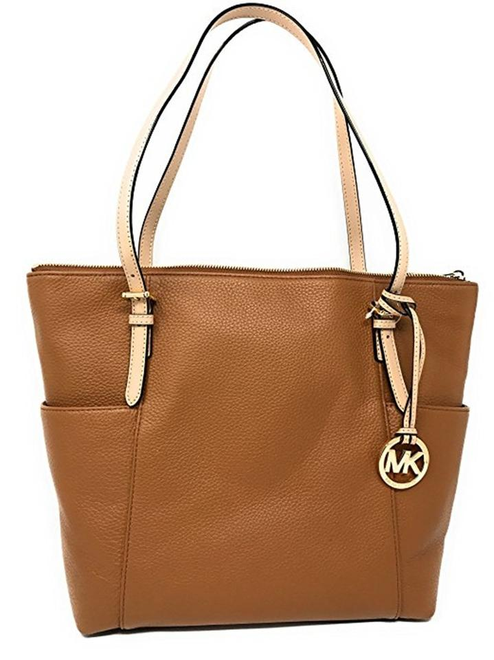 0a5c0c7571fe Michael Kors Jet Set East West Top Zip Brown Leather Tote - Tradesy