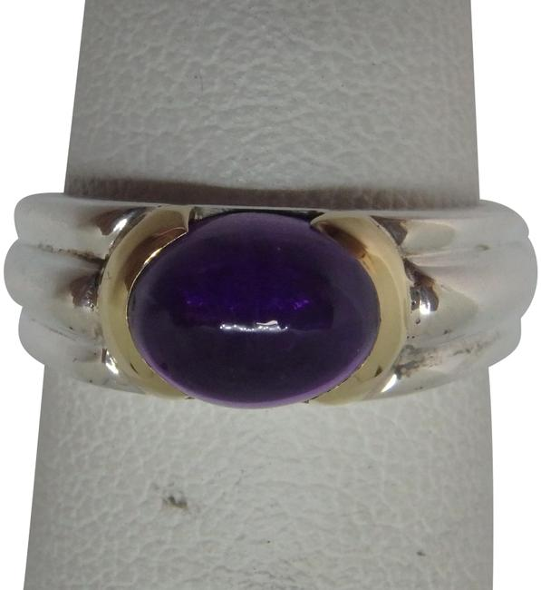 Item - Sterling Silver 18k Yellow Gold Amethyst Ring