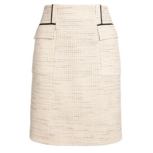 Jason Wu Leather Silk Boucle Designer Mini Skirt Beige