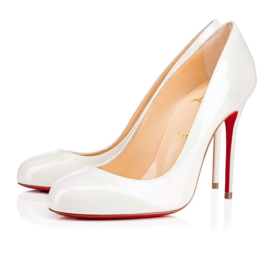 Christian Louboutin Fifi Red Bottoms Patent Leather White Pumps Image 0 ...