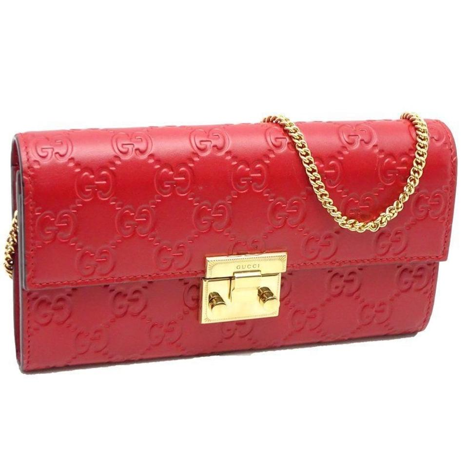 28c9a9fb67c Gucci Chain Wallet Padlock Signature Guccissima Red Leather Shoulder ...