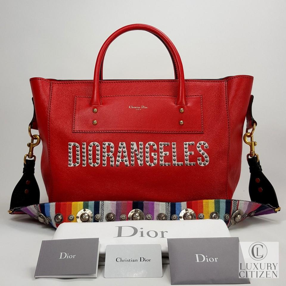 975036a82f Dior 2018 Diorangeles Studded Angeles Red Leather Tote - Tradesy