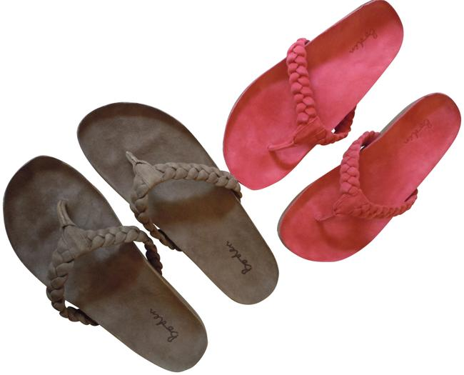 Item - Pink Brown Two Pair Set Of Plaited Suede Flip Flops Nwob 40/9 Cocoa and Raspberry Sandals Size EU 40 (Approx. US 10) Regular (M, B)