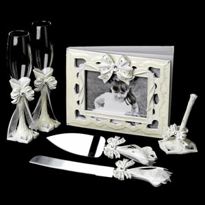 Elegance by Carbonneau Ivory Bow Complete Matching Accessory Set Reception Decoration