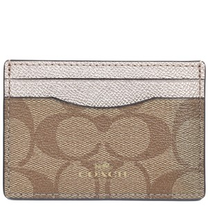 Coach Coach Signature Card Case Holder Metallic Platinum Leather Credit