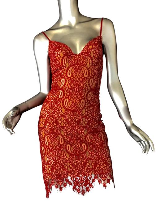 Item - Red Lace Short Night Out Dress Size 12 (L)