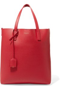 Saint Laurent Leather Shopper Tote in RED