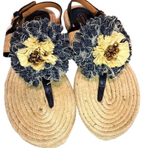 Coach Blue and natural Sandals