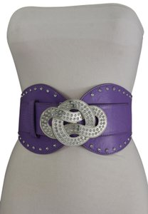 Alwaystyle4you Women Hip High Waist Silver Metal Infinity Buckle Corset Purple Color