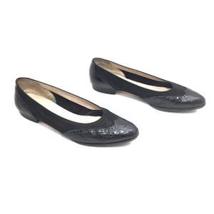 Salvatore Ferragamo Wingtip Leather Suede Black Flats