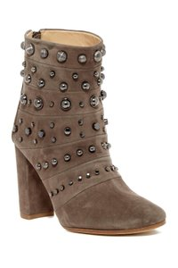 Badgley Mischka Leather Black TAUPE SUED Boots