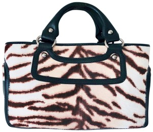 0ea15d0a94f0 Céline Boggie Brown and White Pony Hair Leather Satchel - Tradesy