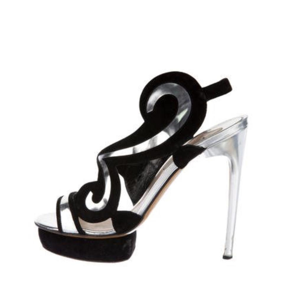 9163c015d0a07 Nicholas Kirkwood Black and Silver Sandals Size US 9.5 Regular (M