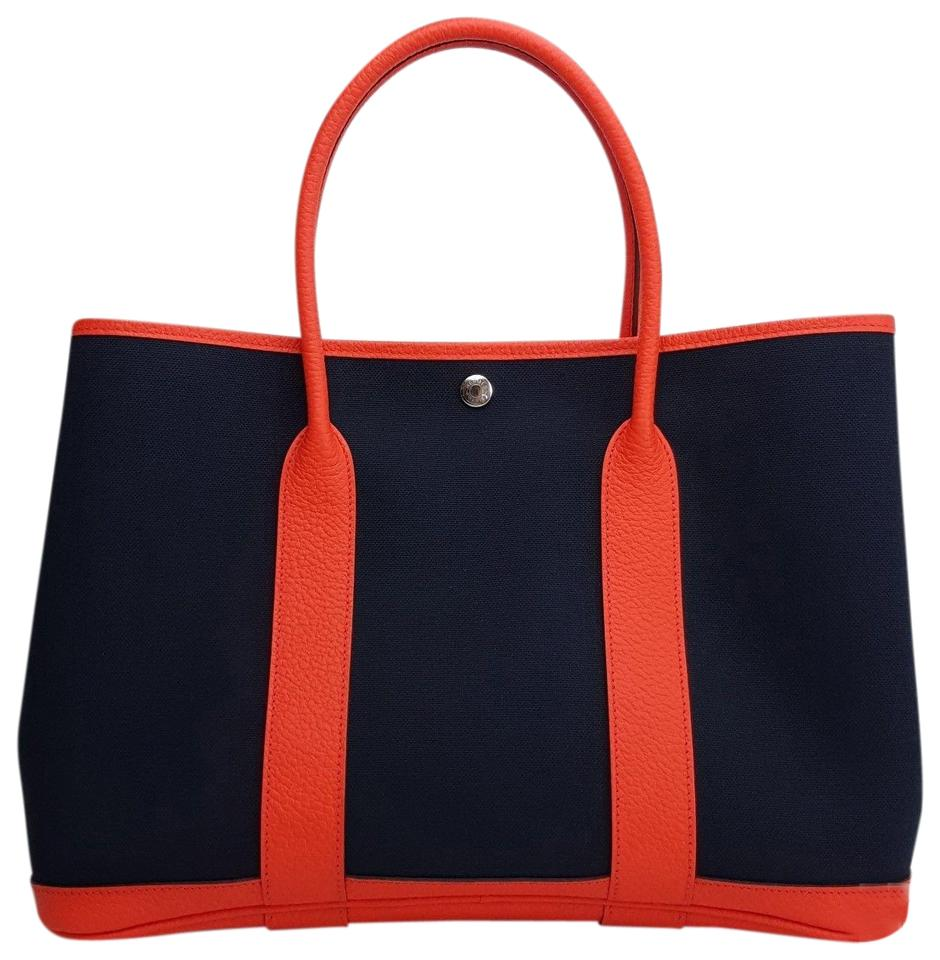 f9025f1b6 Hermès Garden Party 36 Pm Negonda Blue Canvas Fabric Leather Tote ...