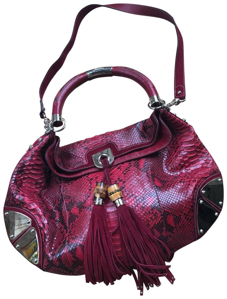 8bf55d681fc Gucci Red Python Skin Leather Hobo Bag - Tradesy
