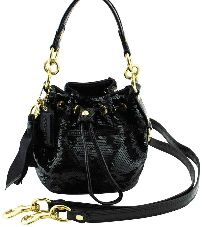 Coach Poppy Cinch Hobo  18726 In Sequins and Patent Black Leather ... 0e03198bd1138