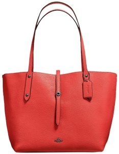 Coach Market Pebbled Leather Tote in Deep Coral