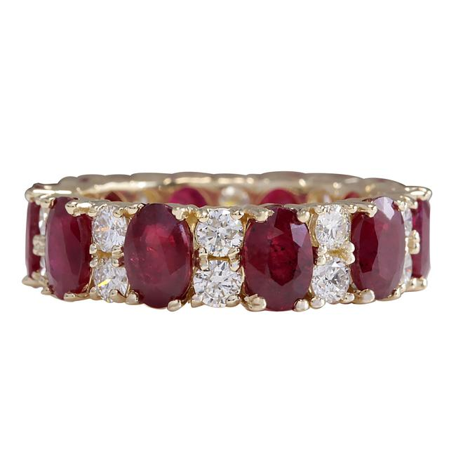 Item - Red 8.07ctw Natural Ruby Diamond 14k Solid Yellow Gold Ring