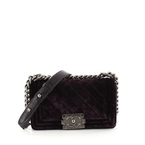 59d4ac740d0dd6 Added to Shopping Bag. Chanel Boy Flap Velvet Shoulder Bag. Chanel Classic Flap  Boy Quilted Small Purple ...