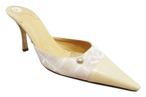 Chanel Cc Canvas Leather Cap Toe Pointed Toe Slide Heel Beige Mules