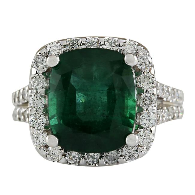 Item - Green 7.53ctw Natural Emerald and Diamond 14k Solid White Gold Ring