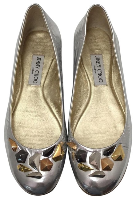 Item - Silver With Metallic Beads Flats Size US 9.5 Regular (M, B)