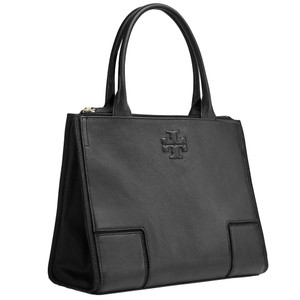 Tory Burch Ella Canvas Leather Shoulder Tote in black