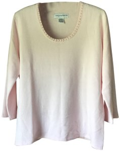 Sag Harbor Faux Pearls Faux Crystals Acrylic 3/4 Length Sleeves Scoop Neckline Sweater