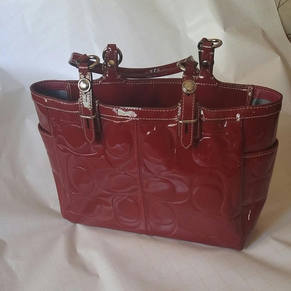 1941 Leather Patent Tote Coach Red Ywf1Yd