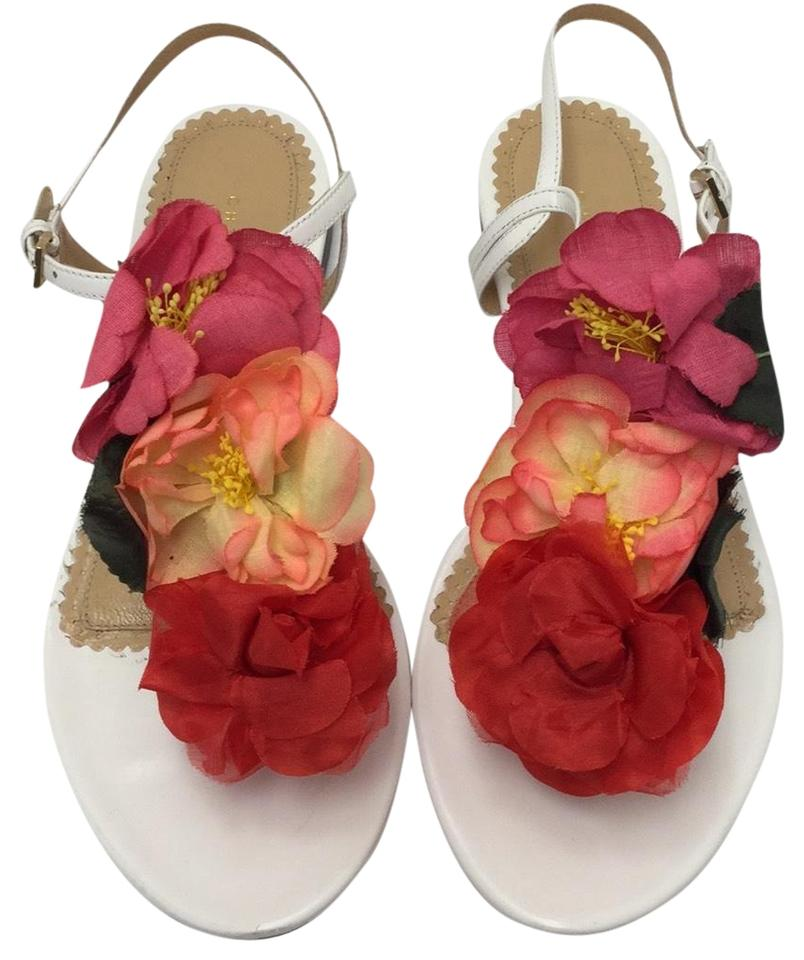 Charlotte Olympia White With Bright Flowers Sandals Size Us 7