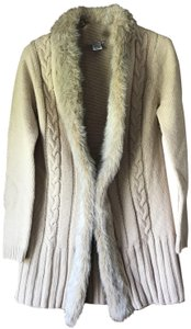 RXB Cable Knit Faux Fur Trim Single Frog Close Wide Banded Hemline Acrylic Cardigan
