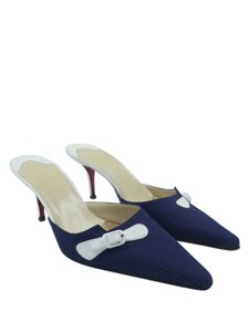 c2ad89fa528 Christian Louboutin Navy Linen Red Bottom Heels Kitten Heels En Route Denim  Mules
