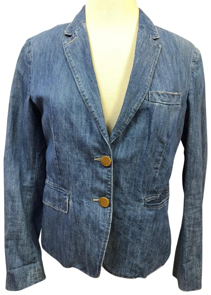 e5a6fcd4bfe7 Blue Linen Blend Jean Blazer Womens 42 It Jacket Size 2 (XS) - Tradesy