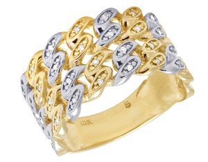 Jewelry Unlimited 10K Yellow Gold Real Diamond Cuban Link Band Ring 0.10 CT 12MM