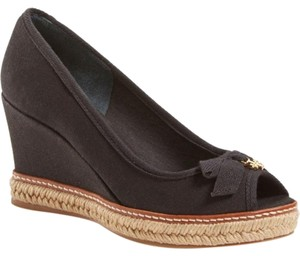 Tory Burch Jackie Espadrille Canvas Black Wedges