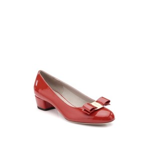 Salvatore Ferragamo Bow Chunky Heel Patent Leather Red Pumps